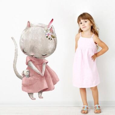 kotka-w-czerwonej-sukience-naklejki-na-sciane-naklejki-scienne