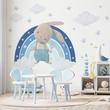 niebieski-kroliczek-na-teczy-z-gwiazdkami-naklejki-na-sciane-dla-dzieci
