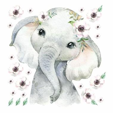 slonik-z-kwiatkami--naklejki-na-sciane-naklejki-scienne