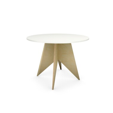 ST-PIN2-100 - ręcznie wykonany, okrągły stół ze sklejki z białym blatem, fi100cm
