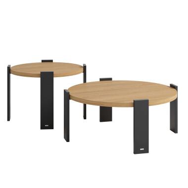 Zestaw dwóch nowoczesnych stolików kawowych CORONA został zaprojektowany z myślą o przytulnych wnętrzach.