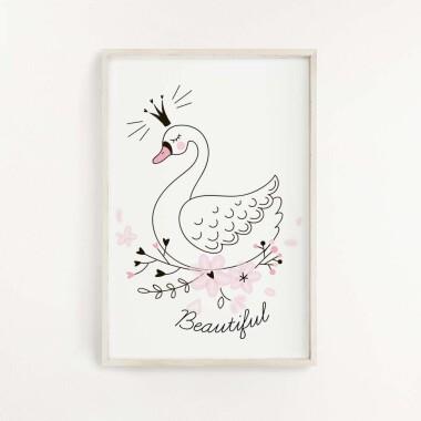 bialy-labedz-plakat-dekoracyjny